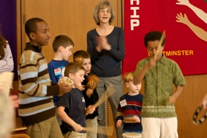 Children participate in Worship